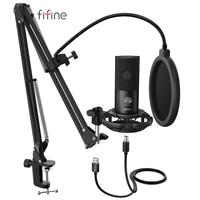 FIFINE Studio Kondensator USB Computer Mikrofon Kit Mit Einstellbare Scissor Arm Stehen Shock Mount für YouTube Stimme Overs-T669