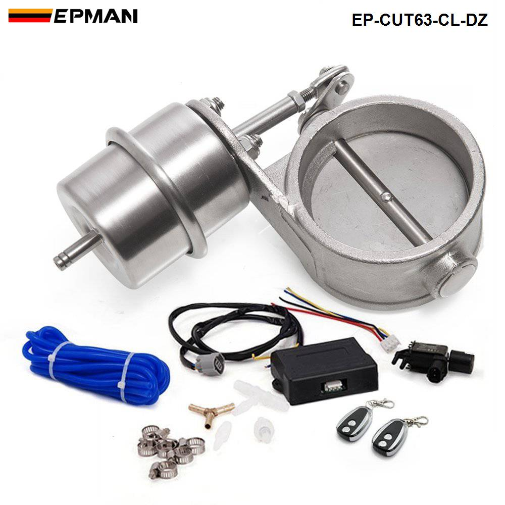 """Exhaust Control Valve Set With Vacuum Actuator CUTOUT 2.5"""" 63mm Pipe CLOSE STYLE with Wireless Remote Controller EP CUT63 CL DZ-in Mufflers from Automobiles & Motorcycles"""