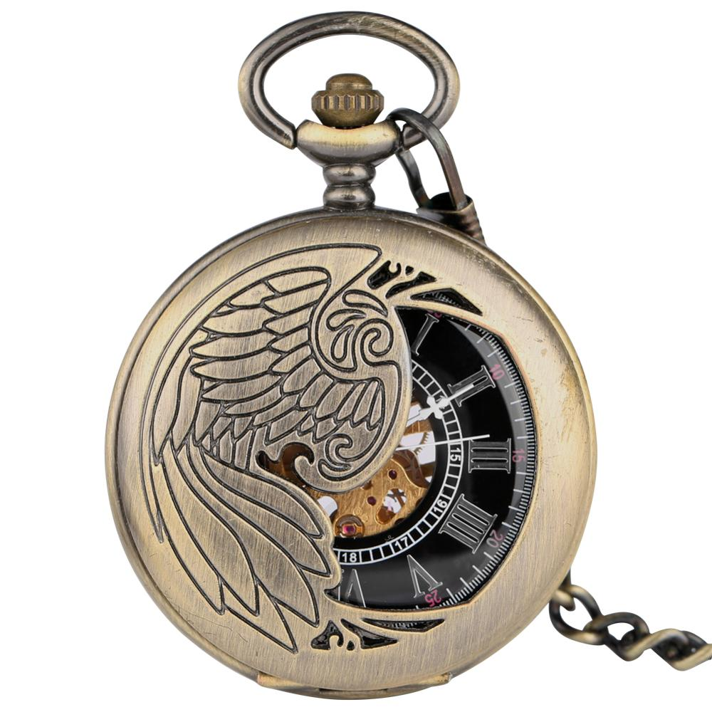 Купить с кэшбэком New Trendy Cool Black Peacock Hollow Case Blue Roman Number Skeleton Dial Steampunk Mechanical Pocket Watch Gift for Men Women