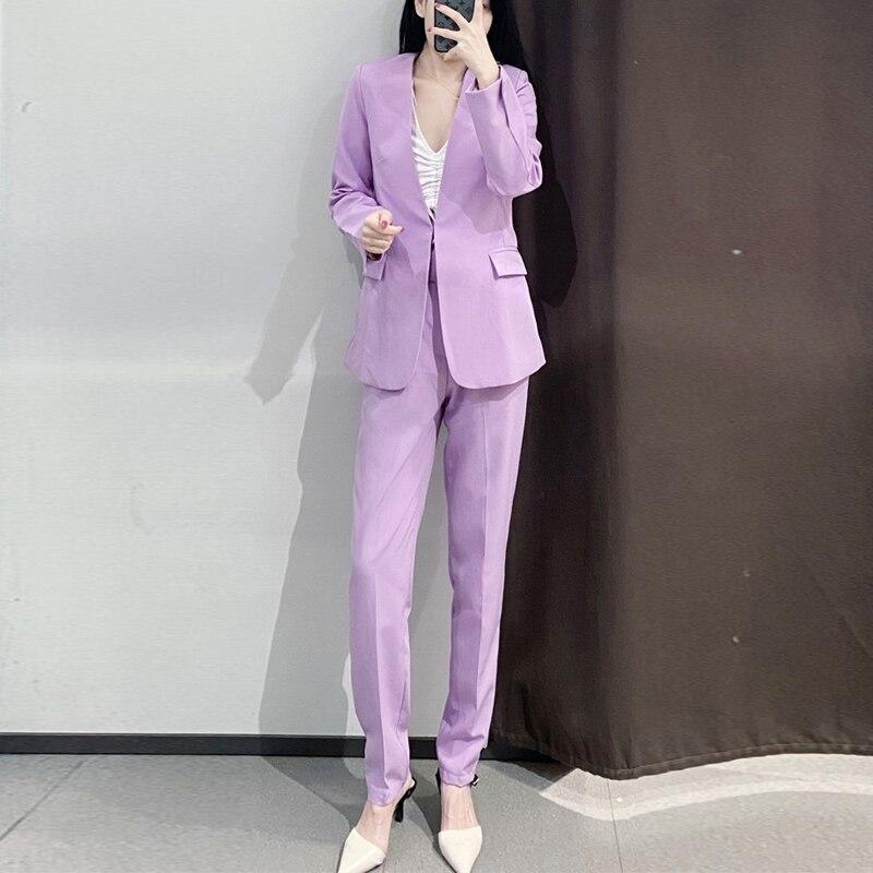 Casual V Neck Blazer Jacket +Trousers 2 piece Set Female 2020 New Womens Spring  Autumn Purple Women Suits