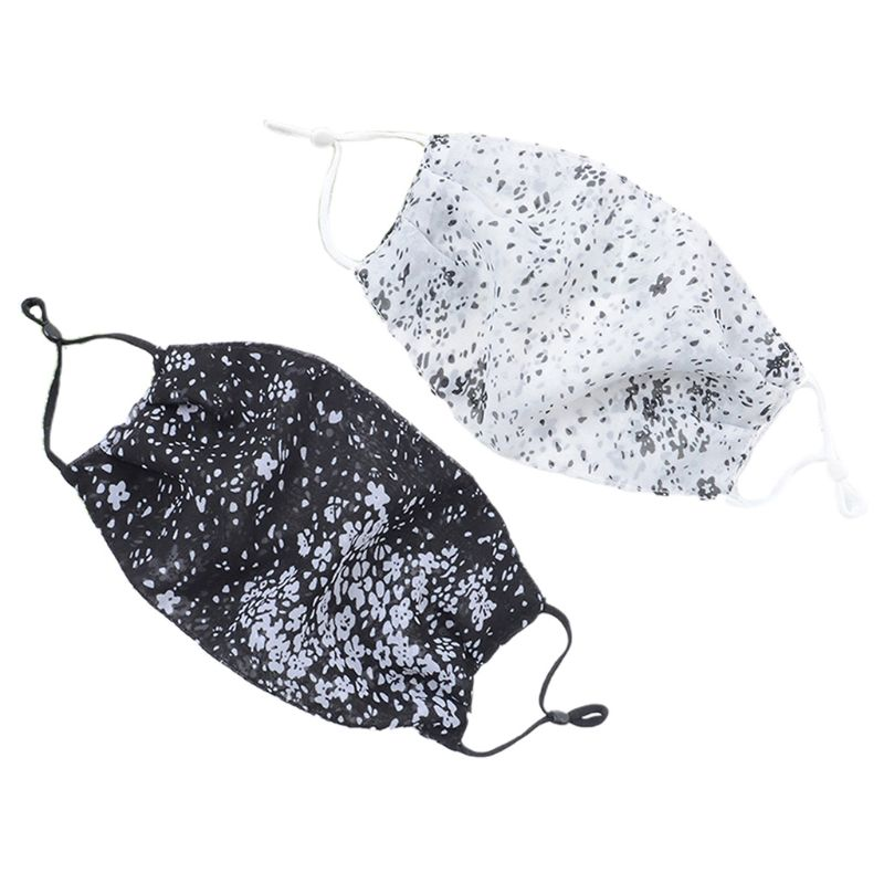 Women Sunscreen Thin Mouth Mask Black White Dotted Floral Print Chiffon Dustproof Washable Protective Ridiing Face Cover