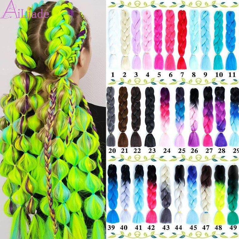 AILIADE Ombre Crochet Afro Bulk Hair Extensions Headwear Synthetic Braiding Hair Bundles Rose Red, Pink Coloured Jumbo Braids