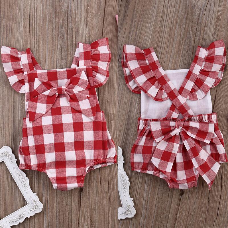 Newborn Kid Baby Girls Plaid Ruffle Jumpsuit Headband Outfits