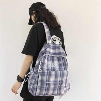 Preppy Plaid Women Backpack Large Anti-theft Lady Travel Tote Packbag Cotton School Book Bags for Teenage Girls Mochila Femenina