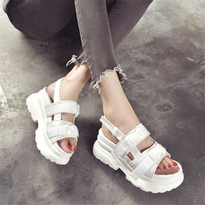 Image 5 - Cootelili sandálias gladiador feminino, sapatos de verão plataformas casuais femininas preto e branco plus size 41 42