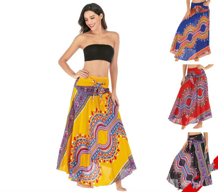 Leisure Time Thailand Dress Sandy Beach Vacation Skirt Clothes Pendulum Skirt Belly Dance Saree Indian African Dresses Women