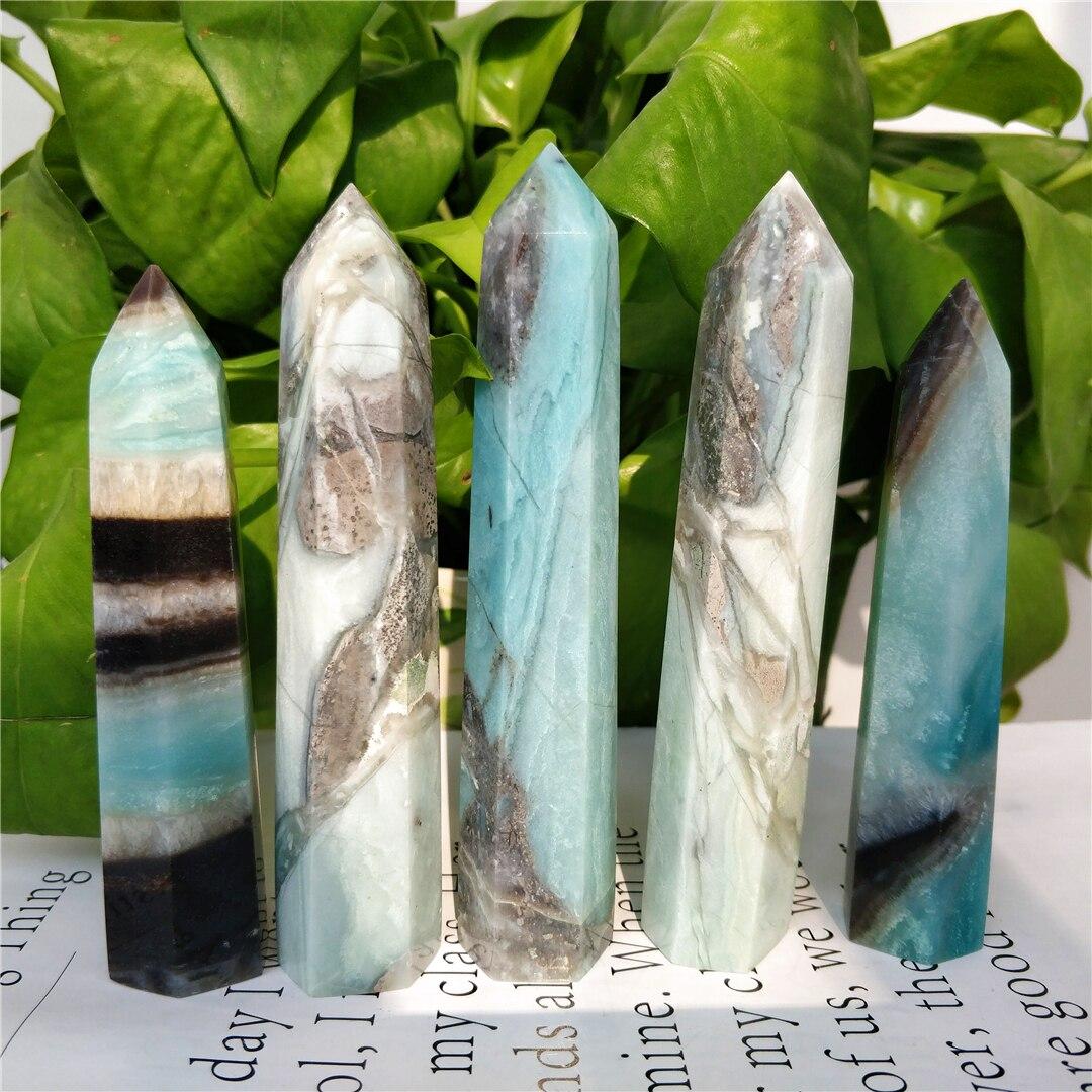 Лидер продаж высокое качество натуральный Карибского моря Кристалл кальцита шестиугольник палочка Единая точка небесно-голубого цвета, ис...