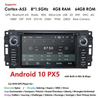 8Core 4G+64G Android10 Car DVD for CHRYSLER JEEP DODGE DVD CD USB GPS Navigation SYSTEM Bluetooth CAR Radio Stereo IPS USB WIFI