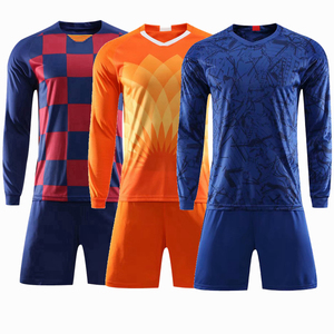Image 1 - 2019 Long sleeve Children Sets football uniforms boys and girls sports kids youth training suits blank custom game soccer set