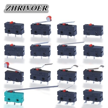 цена на 5Pcs Mini Micro Limit Switch NO NC 3 Pins PCB Terminals SPDT 5A 125V 250V 29mm Roller Arc lever Snap Action Push Microswitches