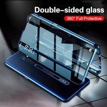 מגנטי מקרה עבור Oppo A11 A11X A5 A9 2020 A5s F9 V17 פרו Realme C11 7 5 פרו רינו Ace 2 כפול צד מזג זכוכית מתכת כיסוי