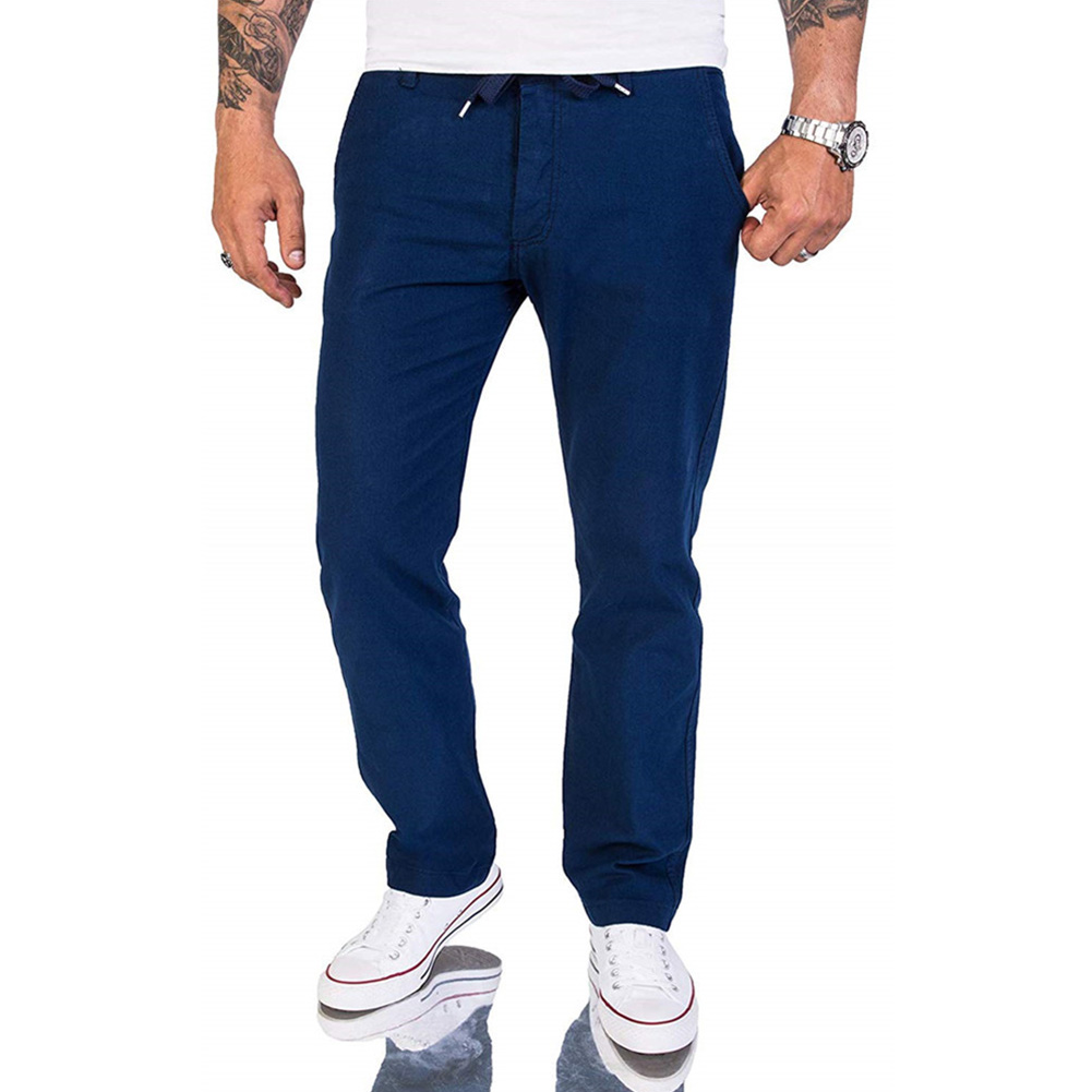 Trousers Fashion Cotton And Linen Outdoor Men Pants Middle Waist Simple All Season Casual Daily Solid Gift Slim With Pockets