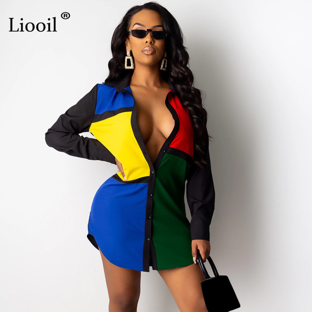 Liooil Color Block Sexy Shirt Mini Dress New Arrival 2019 Fall Winter Long Sleeve Button Up Short Dresses Woman Party Night Club