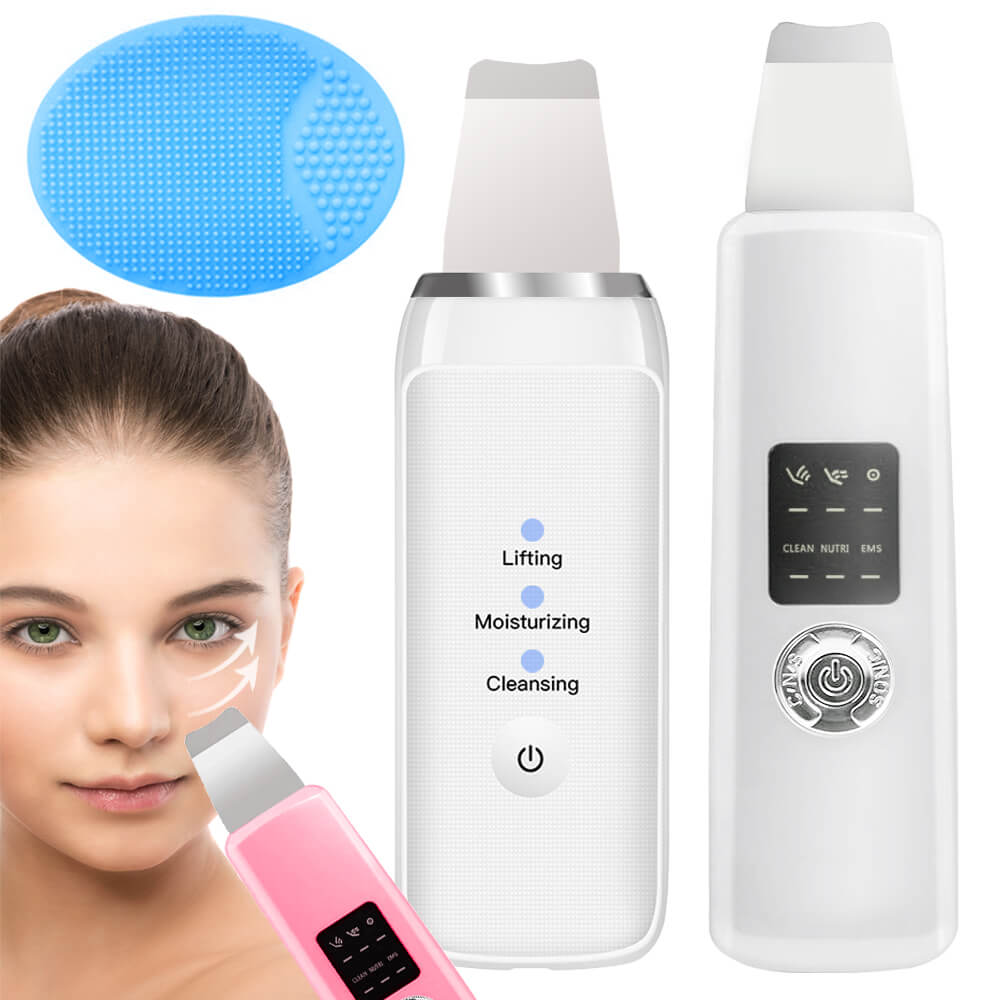 Ultrasonic Deep Face Cleaning Skin Scrubber Remove Dirt Blackhead Reduce Wrinkles Spots Spatula Facial Whitening Lifting Device