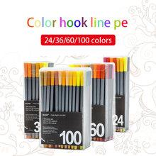 Цветная игольчатая ручка 04 мм гелевая крючок в коробке для