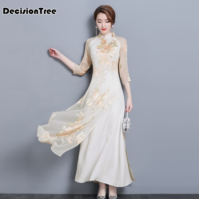 2020 Aodai Vietnam Qipao Dress For Women Traditional Clothing Ao Dai Chinese Dresses Knee Length Oriental Dress For Women