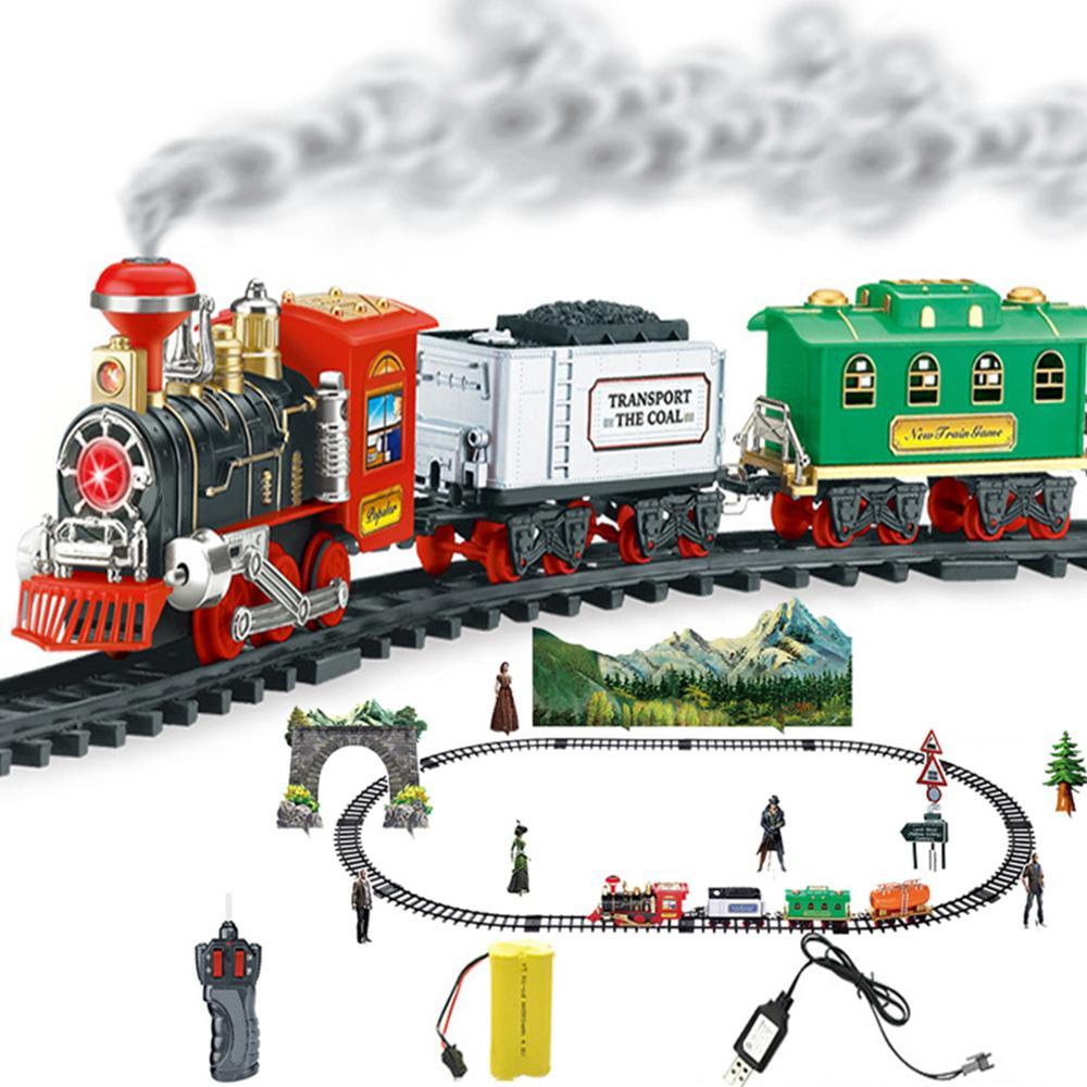 Chrismas Usb RC Train Toy 12 Rails Remote Control Train Model Railway Kits Dynamic Steam Simulation Model Toy Set For Children