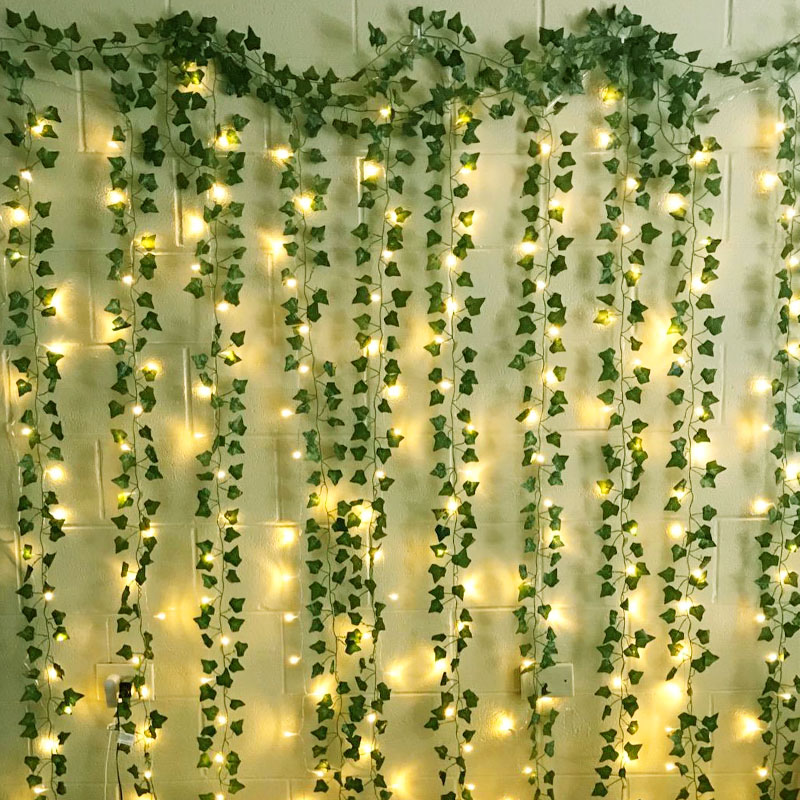 230cm Silk Rose Fake Creeper Green Leaf Ivy Vine With LED String Lights For Home Wedding Party Hanging Garland Artificial Flower