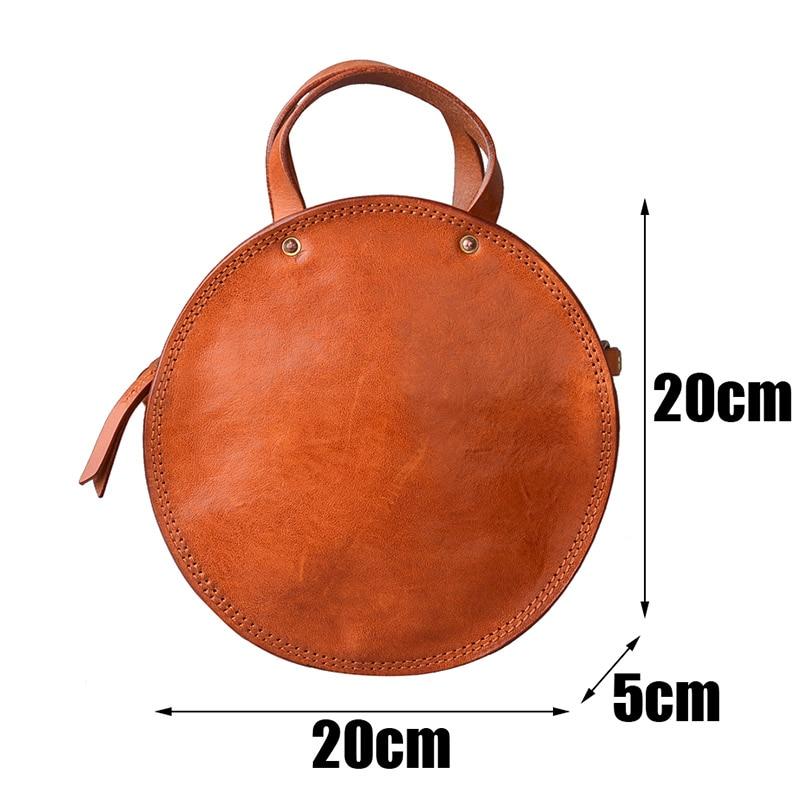 EUMOAN ручная кожаная маленькая круглая сумка, Ретро Милая художественная круглая коробка в форме сумки на плечо - 6