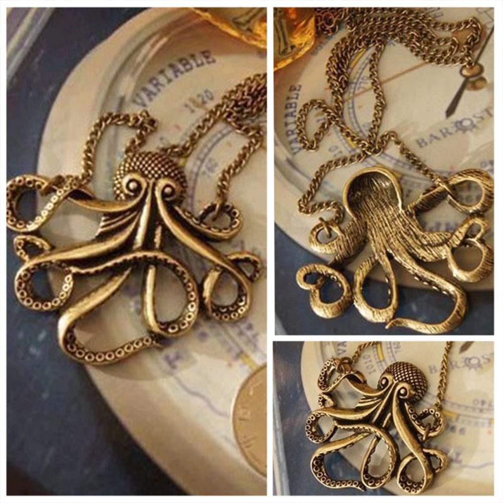 Man Women Vintage Long Alloy European Style Stylish Decoration Dressing Octopus Design Gift Sweater Necklace