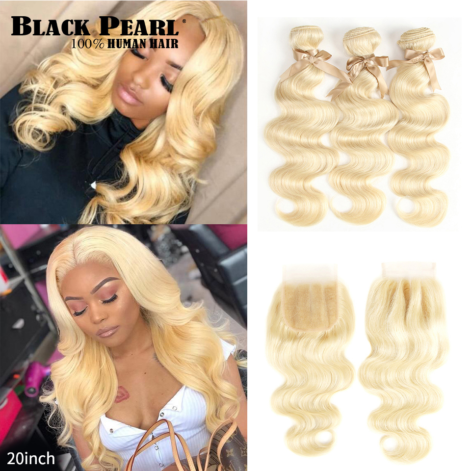 Черный жемчуг 613 блонд пряди с закрытием малазийские объемные волнистые человеческие волосы Remy плетение медовый блонд 613 пряди с закрытием