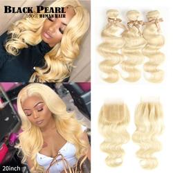 Mechones Rubio 613 perla negra con cierre, cabello humano ondulado malayo Remy, mechones rubio miel 613 con cierre