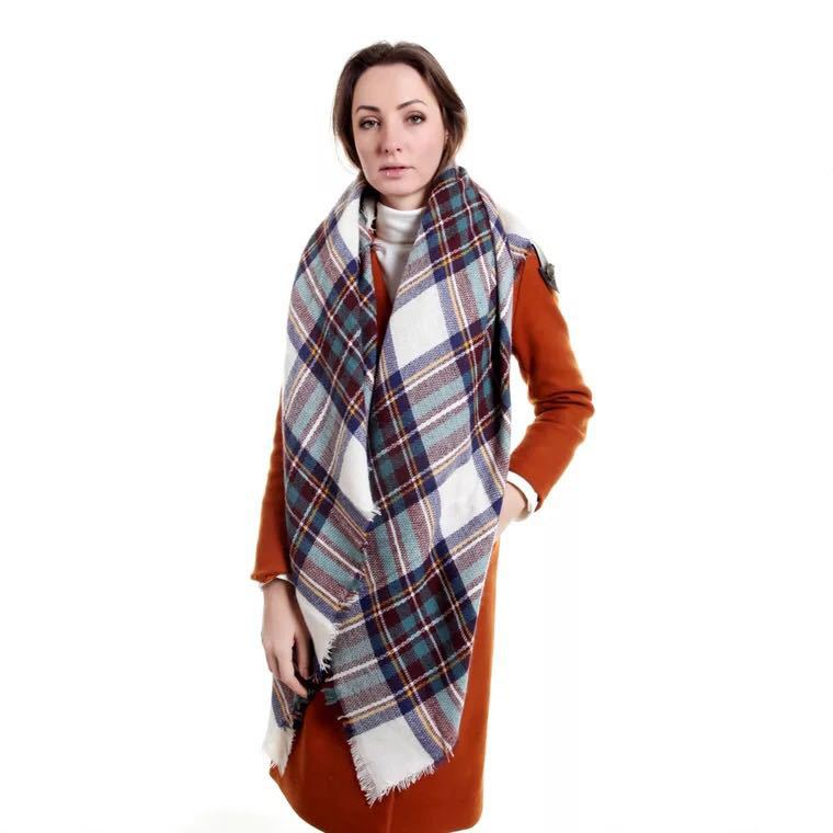Autumn And Winter New Style Europe And America Versitile Fashion Faux Cashmere Plaid Scarf Thick Oversized Kerchief Shawl Double