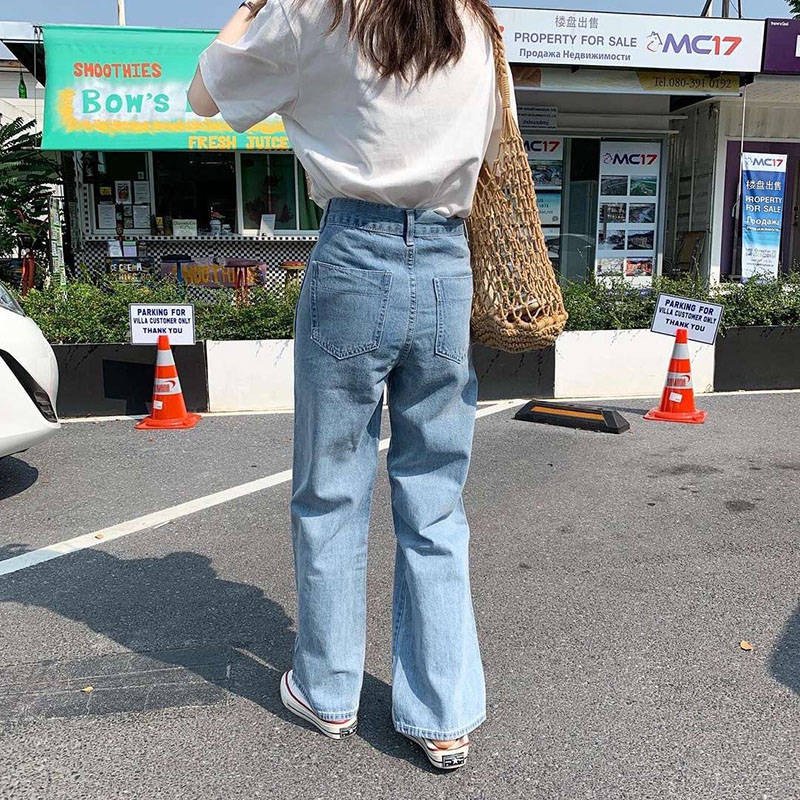 Image 3 - Lizkova Jeans Women Vintage Straight Pants Light Blue High Waist Dad Denim Pants 2020 Korean Style Streetwear MT6526Jeans   -