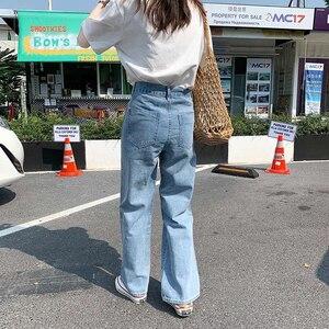 Image 3 - Lizkova Jeans Women Vintage Straight Pants Light Blue High Waist Dad Denim Pants 2020 Korean Style Streetwear MT6526