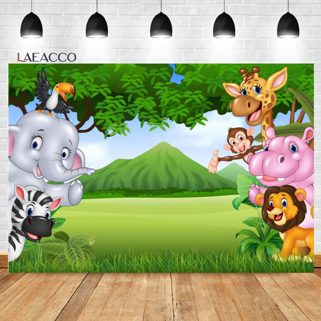 Laeacco Birthday Photozone Jungle Forest Animals Safari Party Photography Backdrops Baby Shower Backgrounds Newborn Photocall