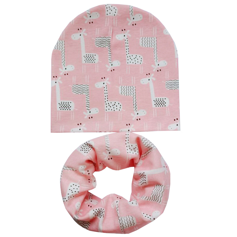 New Spring Autumn Cartoon Cap Scarf Cotton Children Hat Cap Boys Girls Neck Scarf Kids Beanies Winter Baby Hat Scarf