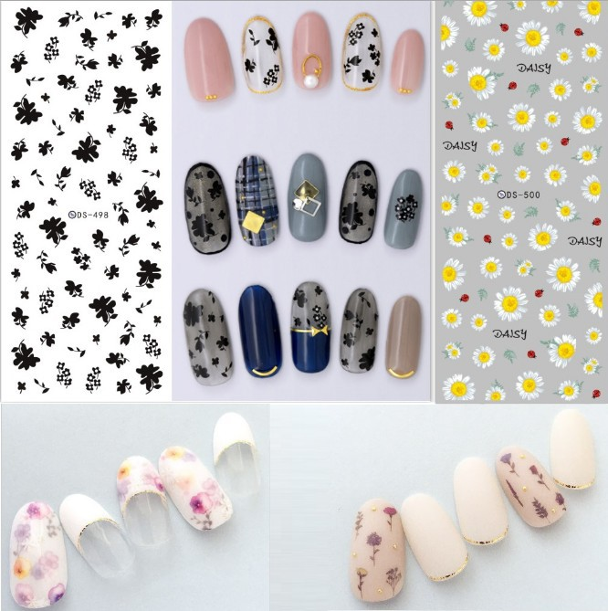 New Style Manicure Watermarking Adhesive Paper Nail Polish Plastic Sticker Flower Stickers Weep Yafeng Coloured Drawing Daisy/Re