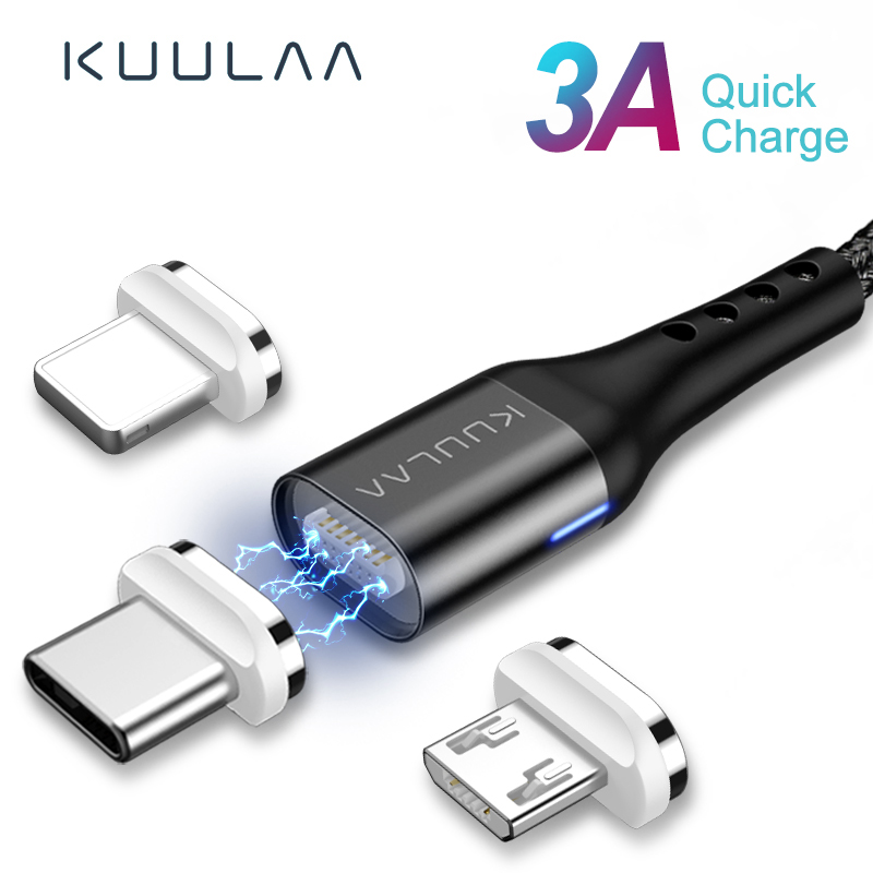 KUULAA Magnetic USB Cable C Quick Charge Type Magnet Charger Micro Fast Charging Mobile Phone Cord