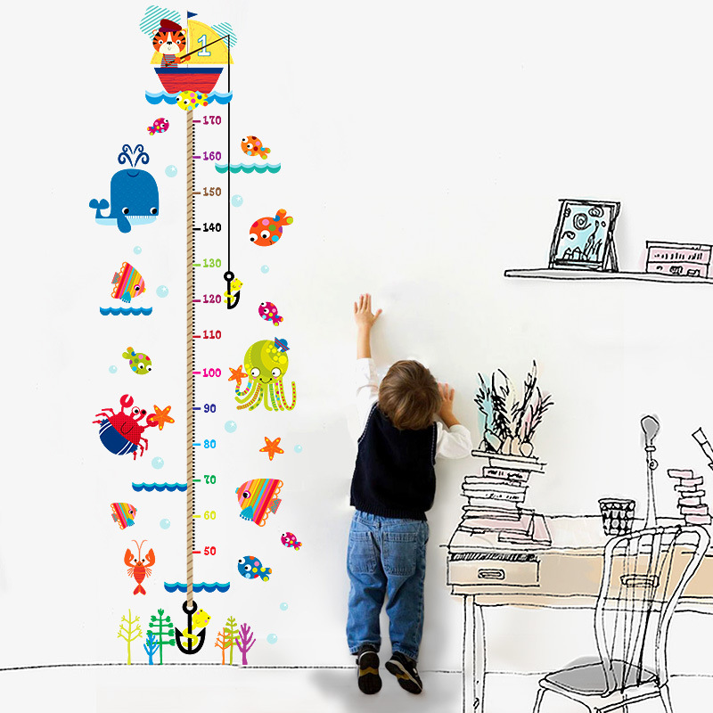 Baby Souvenirs Height Growth Chart Wall Sticke Underwater Sea Fish Anchor Funny Gadgets Birthday Gift
