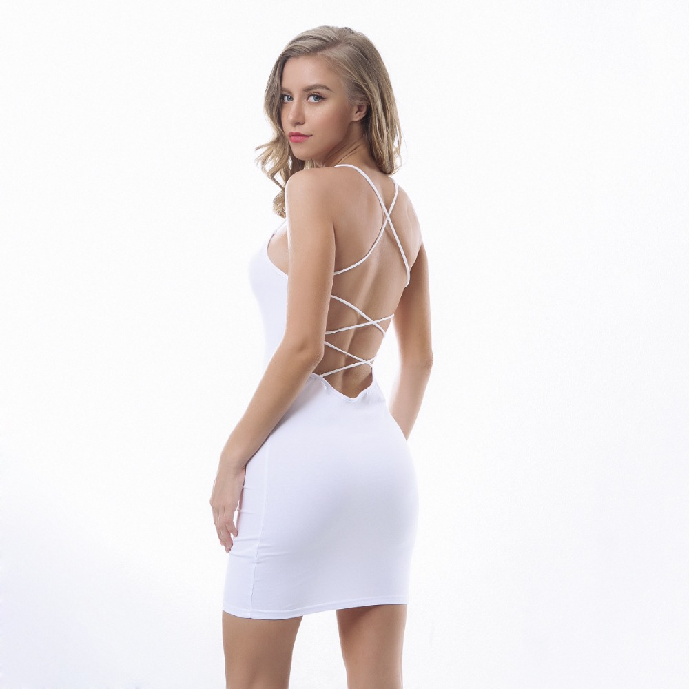 Sexy Black Summer Clothes Women Solid Color Backless Spaghetti Straps Nightclub Dress Bodycon Evening Party Low Neck Mini Dress 8