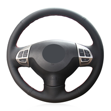 цена на Black Genuine Leather Car Steering Wheel Cover for Mitsubishi Lancer X 10 2007-2015 Outlander 2006-2013 ASX 2010-2013 Colt