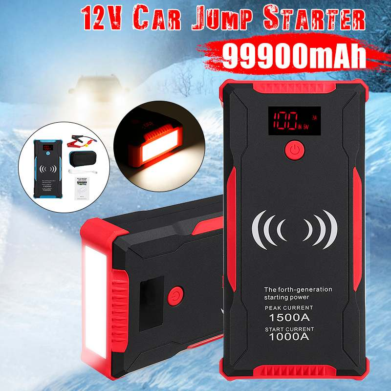 High Power 1500A Peaks <font><b>Car</b></font> <font><b>Jump</b></font> <font><b>Starter</b></font> 12v <font><b>1000A</b></font> Power Bank 2 Usb Wireless Phone Charge Auto Battery Charger Starting Device image