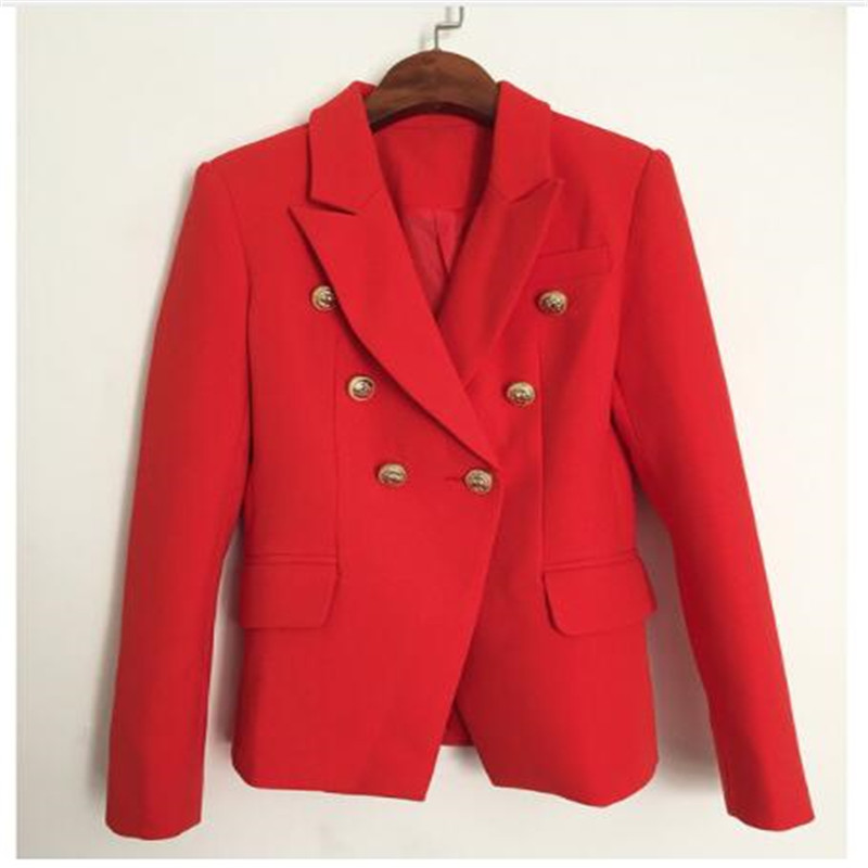 HIGH QUALITY New Fashion 2018 Designer Blazer Jacket Women's Metal Lion Buttons Double Breasted Blazer Outer Coat Size S-XXL Red