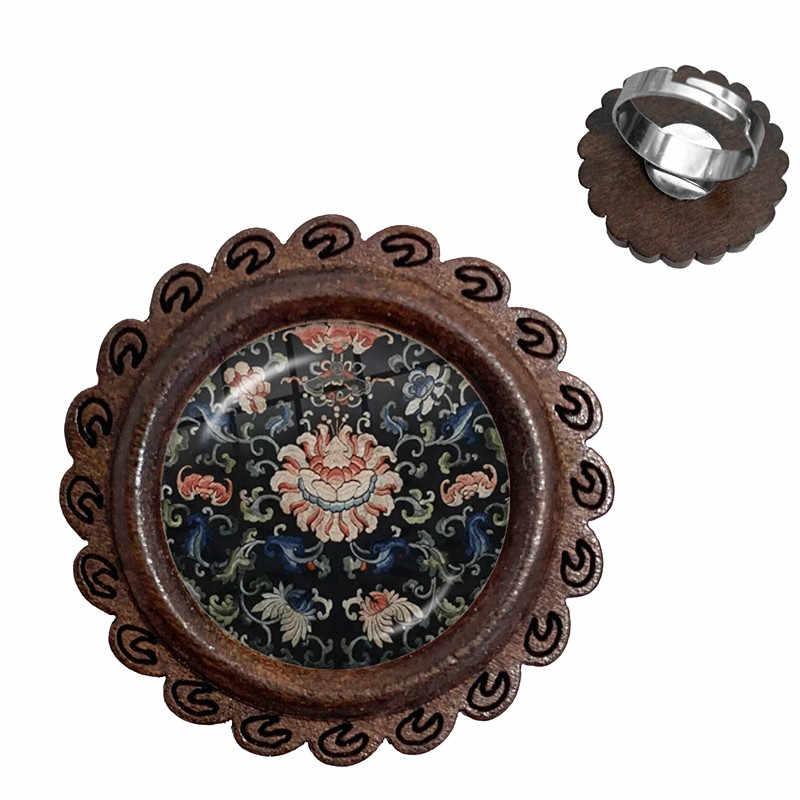 Charm Henna Yoga Amulet Ladies Wood Rings 20mm Glass Cabochon Adjustable Rings Jewelry Mandala Flower Bohemia Ladies Women Kids