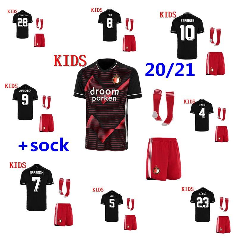 Top Quality 2020 2021 FeyenoordES Away Soccer Jersey 20 21 Kids Kit JORGENSEN BERGHUIS KOKCU Boy Football Shirt