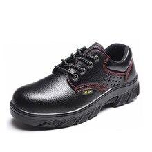 Rozmiar 47 podeszwy stalowe stalowe buty Toe czarne buty męskie buty skórzane buty ochronne niezniszczalne buty robocze dla mężczyzn modne buty