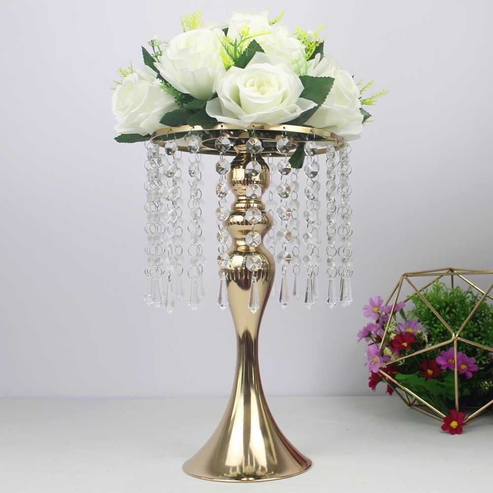 מעודן פרח אגרטל טוויסט צורת Stand זהב/כסף חתונה/שולחן מרכזי 52 CM גבוה כביש עופרת בית תפאורה