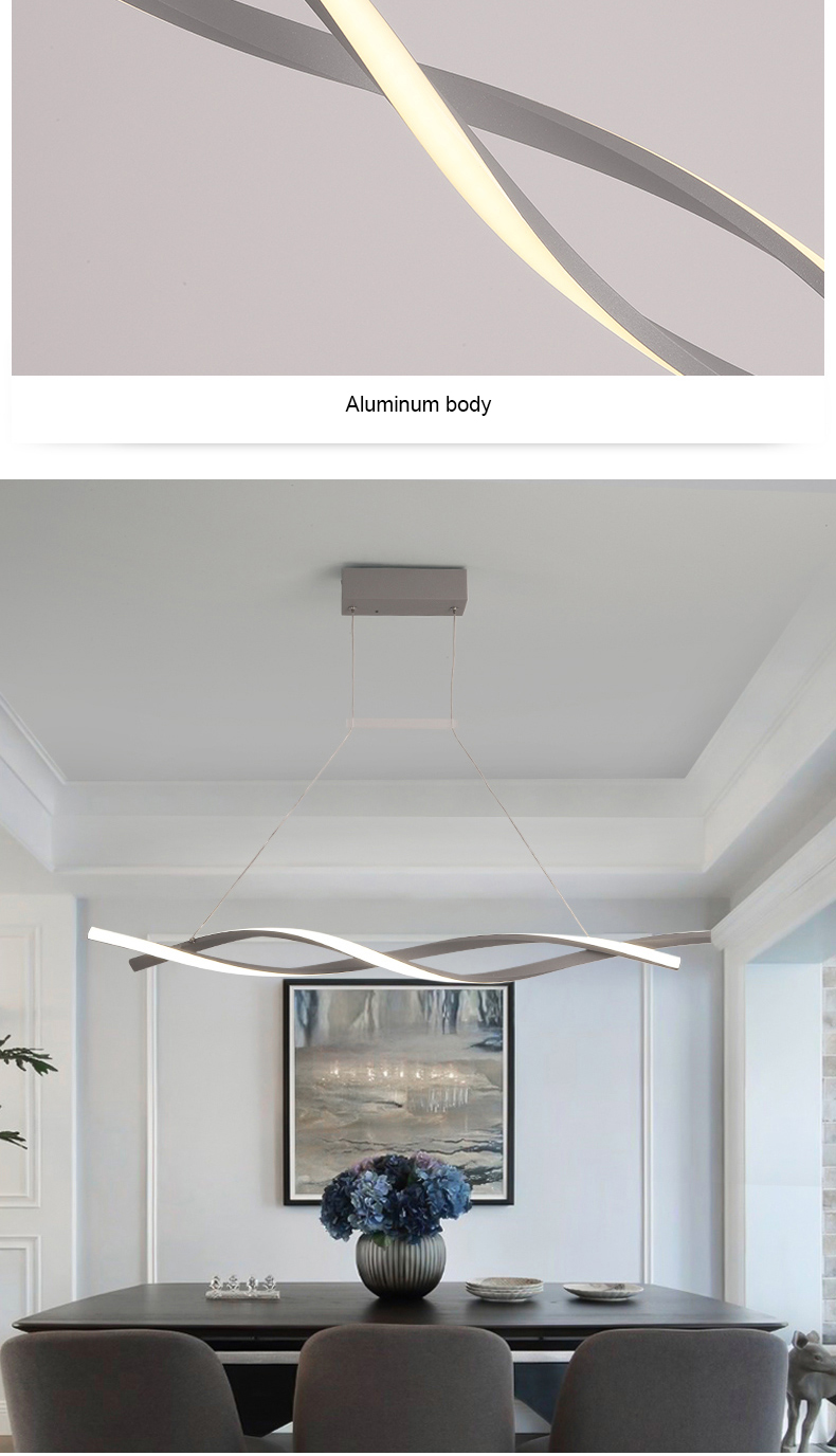 escritório cozinha onda alumínio avize lustre moderno luminárias