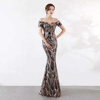 Pretty Mermaid Formal Evening Dresses One word collar sequins evening Dress Party Sexy noble Long evening Gowns