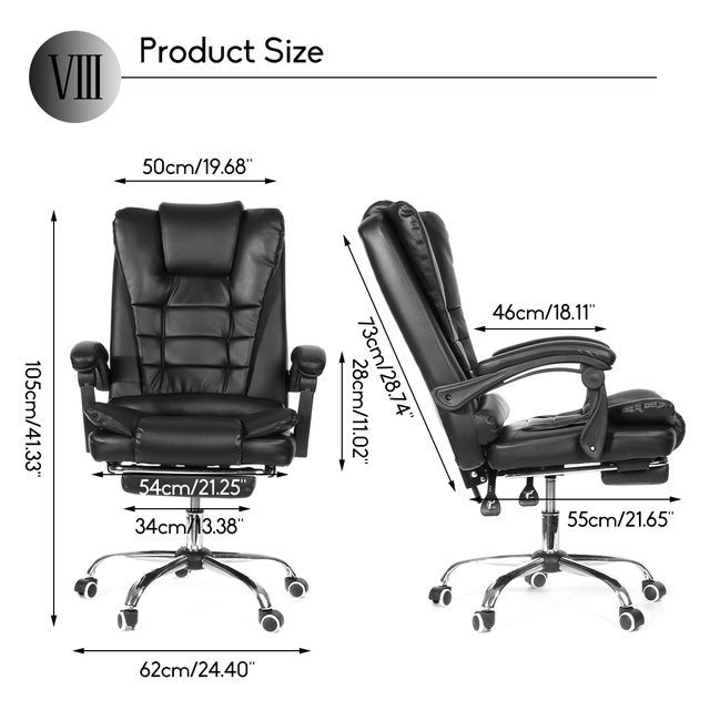 Office Computer Chair Ergonomic Adjustable Rotating PU Leather Gaming Chair Armchair with Footrest Computer Lifting Swivel Chair 2