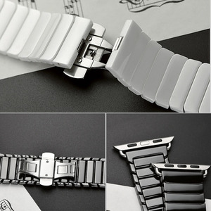 Image 3 - Ceramic Strap for Apple Watch Band 44 mm 40mm iwatch 42mm 38mm Luxury Stainless steel bracelet for Apple watch series 5 4 3 2 1