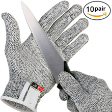 10 Pairs Grade Level 5 Safety Anti Cut Gloves Kitchen Cut Resistant Emergency Kit High-strength Glove Cutting Safety Gloves