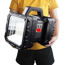 XHP100 süper parlak LED su geçirmez Usb şarj edilebilir çift kafa projektör el feneri çalışma spot Floodling ışık