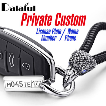 Personalized Keychain Customized For Car Logo Plate Number Anti-lost Eagle Bird Keyrings Detachable Key Ring Chain Holder