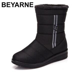Image 1 - BEYARNEWaterproof נשים חורף מגפי FemaleShoes אמצע עגל HighDown גבירותיי מגפי שלג הנעל טריז גומי קטיפה מדרסים בוטה
